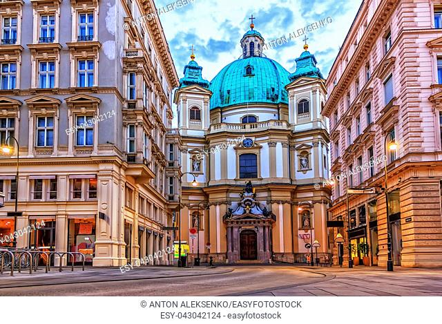 The Peterskirche of Vienna, Graben, Austria with no people