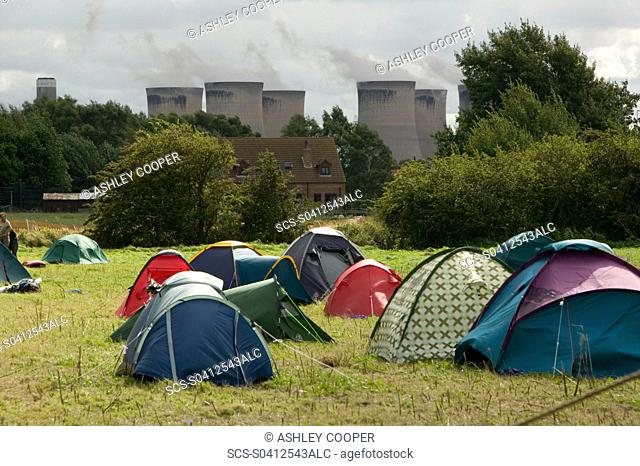 The climate cmap protest site near Drax coal fired power station in yorkshire UK