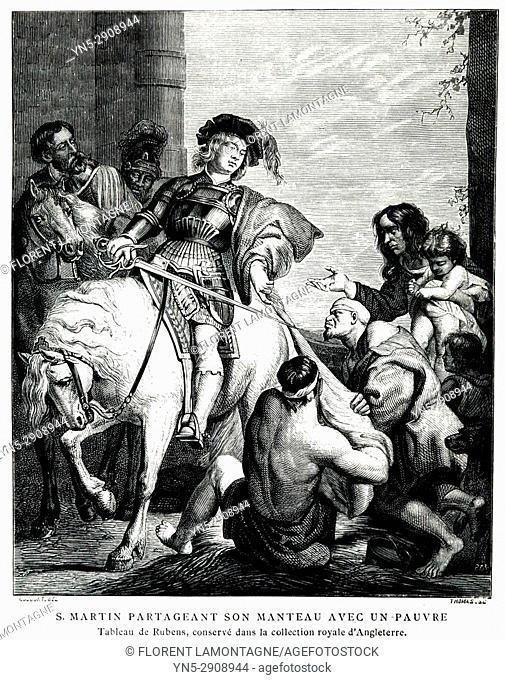 Saint Martin de Tours partageant son manteau, tableau Rubens, coat, painting, XV