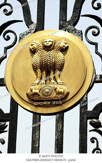 Emblem of Indian on the gate of a government building, Rashtrapati Bhavan, Rajpath, New Delhi, India
