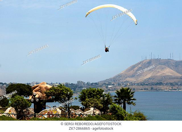 Paraglider launching from the coastline in Lima Miraflores, Peru