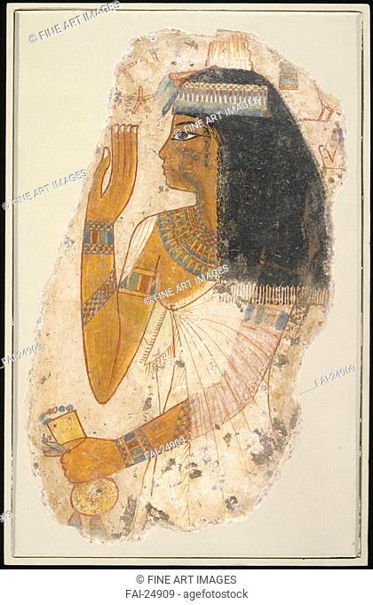 Thepu, mother of Nebamun of Thebes. Ancient Egypt . Limestone. Egyptian Art. ca 1390-1353 B. C. . Egypt. Brooklyn Museum, New York. 37,6x24