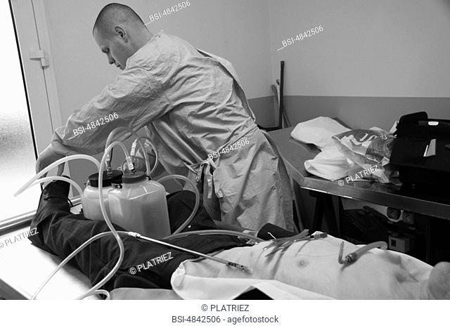 Photo essay from Pitié-Salpêtrière Hospital, Paris 75, France. Extraction of the artery for the injection of the preservation chemical product based of formol