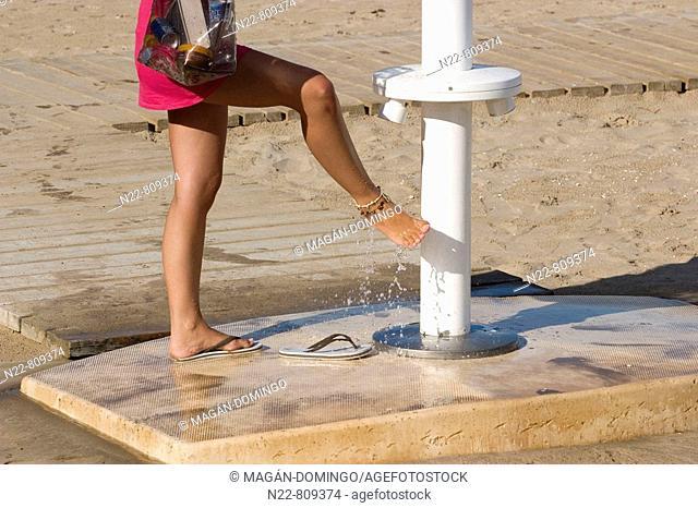 Beach shower, Cullera. Valencia province, Comunidad Valenciana, Spain