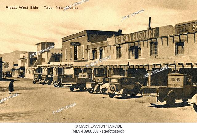 View of The Plaza (West Side), Taos, New Mexico, USA