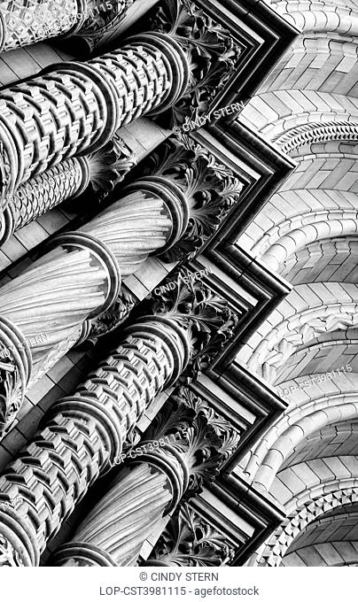 England, London, South Kensington. Romanesque architecture at the grand entrance of the Waterhouse building of the Natural History Museum