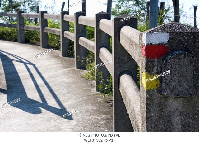 Concrete handrail with demarcation signal, Igueldo, Donostia-San Sebastián, Guipuzcoa, Basque Country, Spain