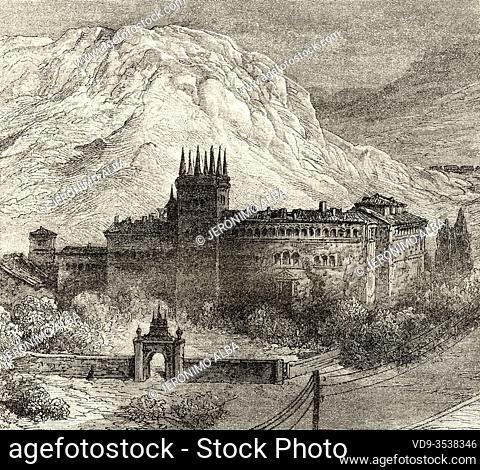 Former convent monastery of Bujedo between Burgos and Miranda de Ebro, Burgos province, Castile and Leon. Spain, Europe. Old 19th century engraved illustration
