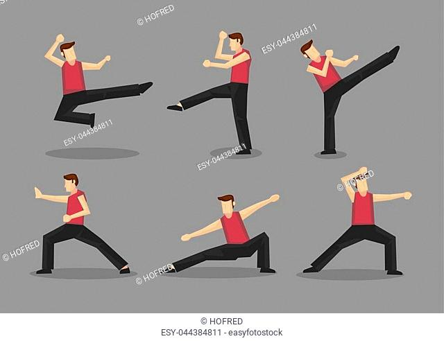 Set of six vector cartoon character demonstrating Chinese style martial arts moves isolated on plain grey background