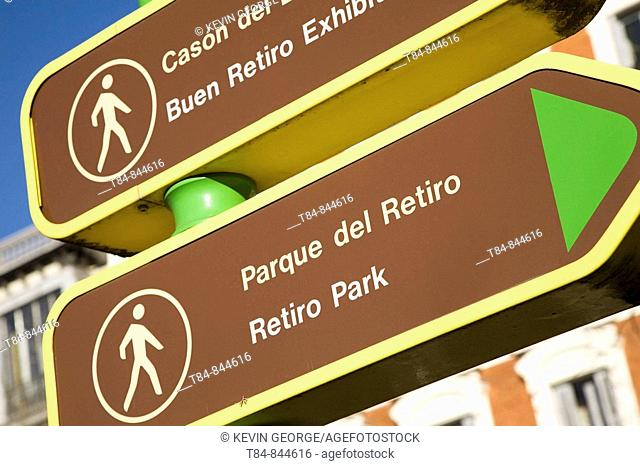 Retiro Park Sign, Madrid, Spain