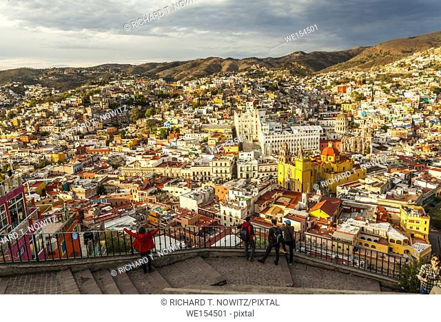 The angle high view of the historic city center of Guanajuato, Mexico