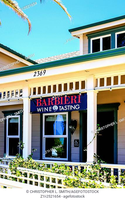 Barbieri Wine Tasting overhead sign outside their wine tasting store in Los Olivos in California
