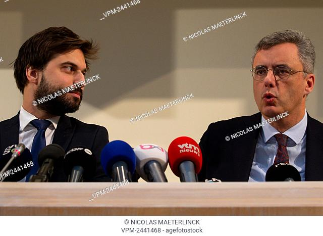 MR chairman Georges-Louis Bouchez and CD&V chairman Joachim Coens pictured during a press conference of the 'informers', negotiators appointed by the Belgian...