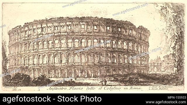 Plate 12: Flavian Amphitheater, called the Colosseum. 1. Arch of Constantine. 2. Palatine Hill. (Anfiteatro Flavio detto il Colosseo in Roma. 1