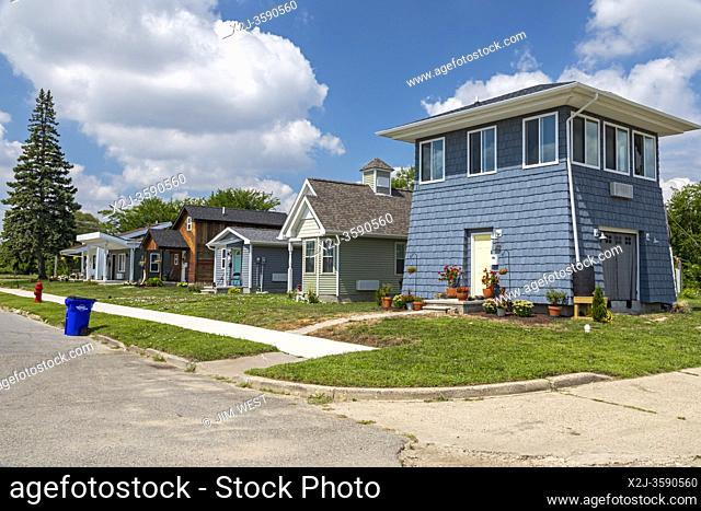 Detroit, Michigan - Tiny houses, built by Cass Community Social Services for the homeless. The nonprofit plans to eventually build a community of 25 homes