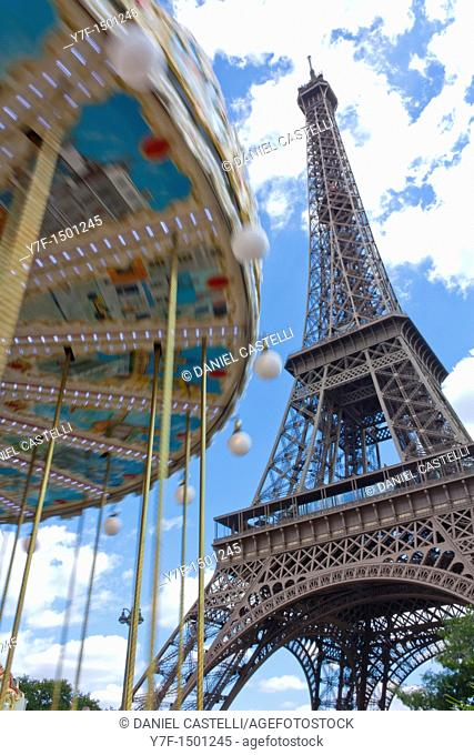 Eiffel Tower and merry-go-round, Paris, France