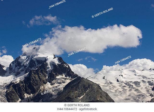Switzerland, Europe, Piz Roseg, Mountain, Mountains, Alps, Alpine, Kanton Graubunden, Clouds, Blue sky, Bernina range