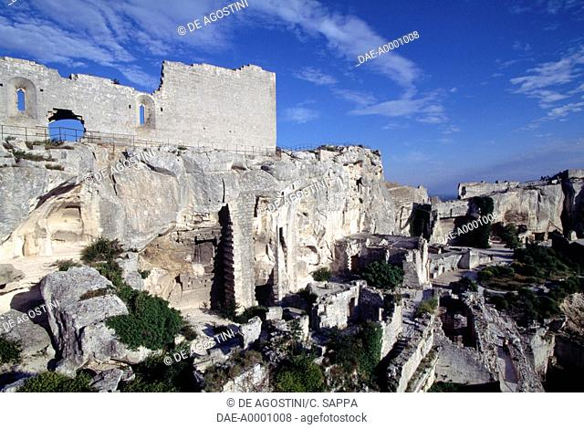 Ruins of the dungeon in Chateau des Baux, Provence-Alpes-Cote d'Azur. France, 11th-13th century