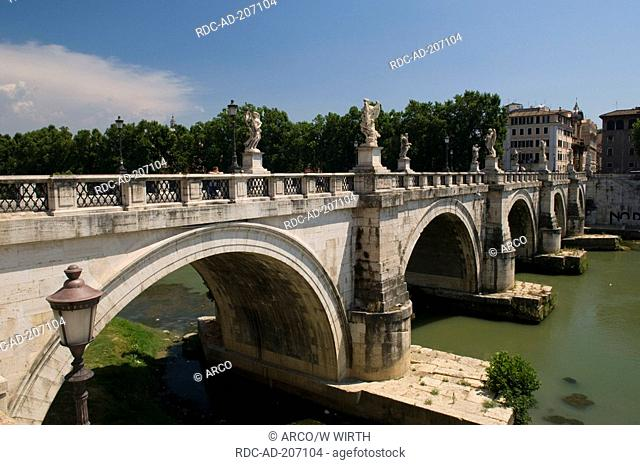 Bridge Ponte San Angelo, over river Tiber, Rome, Lazio, Italy
