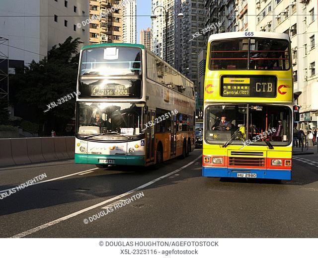 CAUSEWAY BAY HONG KONG NWFB Dennis Trident 12m double decker and