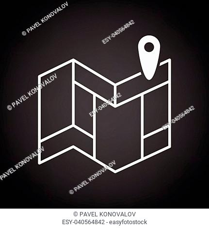 Navigation map icon. Black background with white. Vector illustration