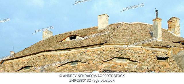 Tiled roof of a historic building, Sibiu, Transylvania, Romania, Europe