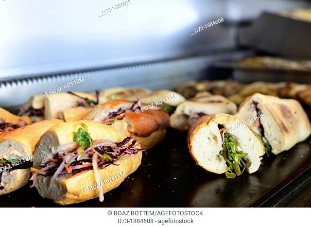 The famous fish sandwiches served under and near the Galata bridge in Istanbul