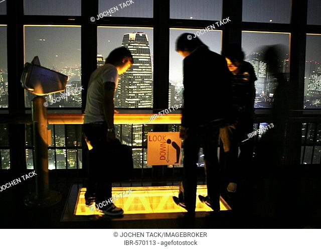 View from Tokyo Tower, Daimon and Shiba district at night, Tokyo, Japan, Asia