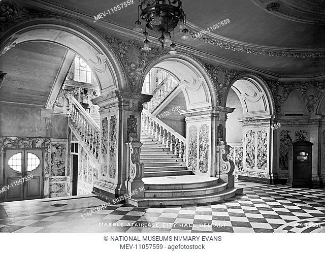Marble Staircase, City Hall, Belfast - an interior showing the staircase and floor. (Location: Northern Ireland: County Antrim: Belfast)