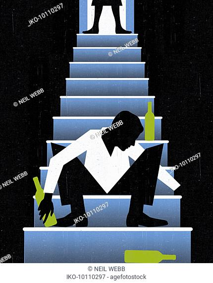 Woman standing over drunk man on stairs surrounded by wine bottles