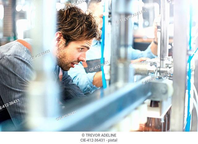 Male brewer bottling beer in brewery