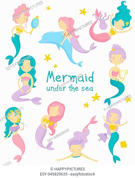 Cartoon collection of beautiful mermaids. Cute little girls with colorful hair and fish tails. Fantastic sea life. Mythical marine creatures