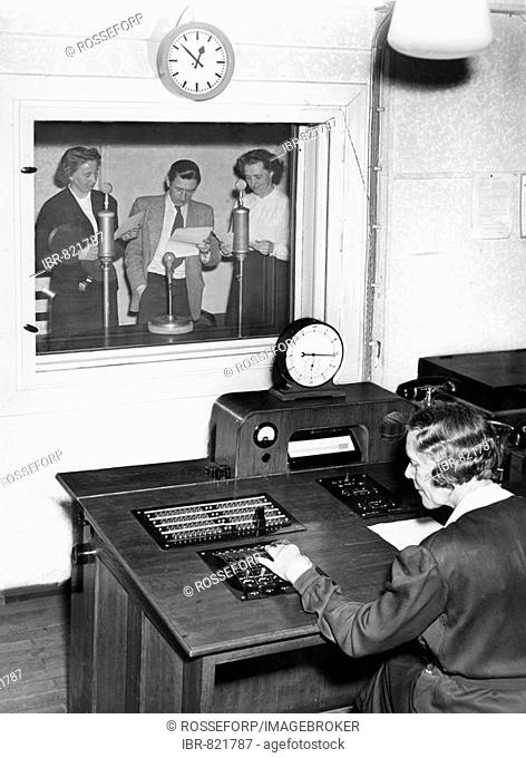 Singers in a recording studio, historical photo, circa 1955