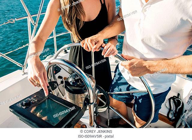 Couple steering wheel of sailboat