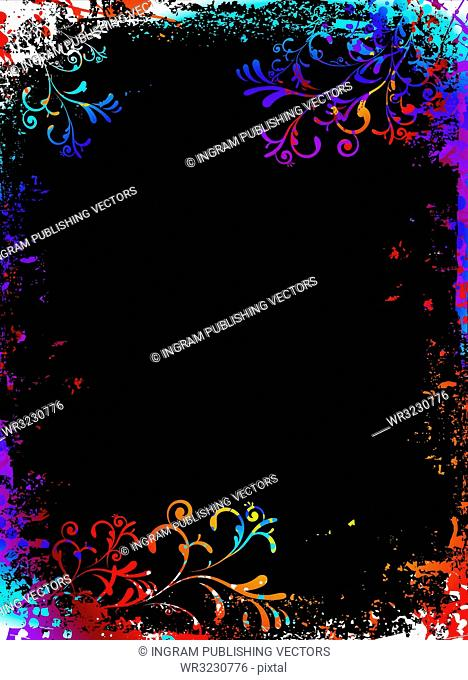 Rainbow grunge floral background with to add your own copy