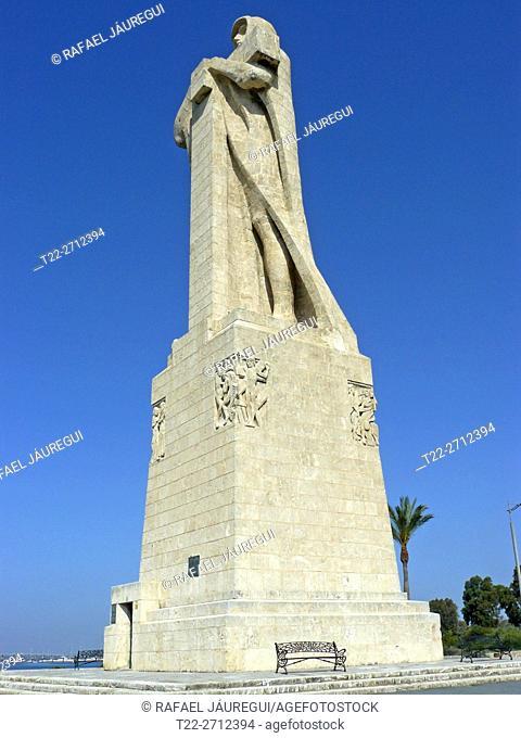 Huelva (Spain). Monument of Faith discoverer near the city of Huelva