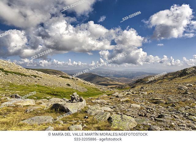 Milestone in Prado Pozas. Sierra de Gredos. Avila. Spain
