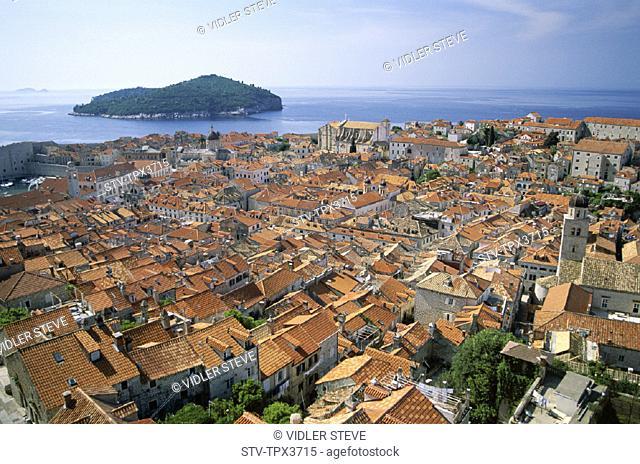 City, Coast, Croatia, Europe, Dalmatian, Dubrovnik, Heritage, Holiday, Island, Landmark, Lokrum, Old, Rooftops, Tourism, Travel