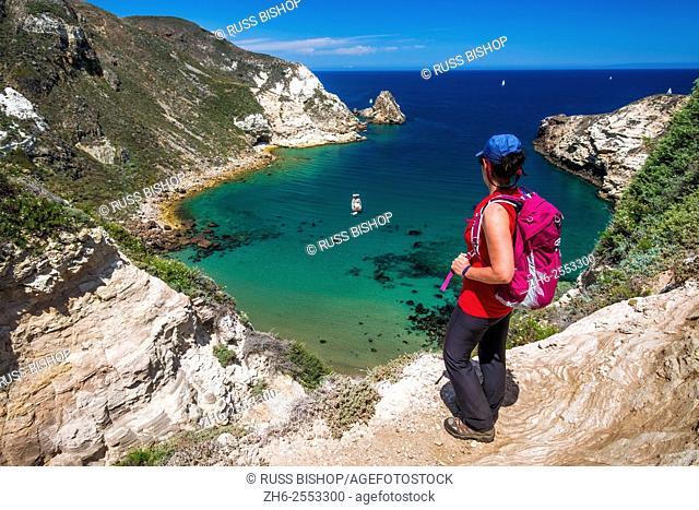 Hiker at Potato Harbor, Santa Cruz Island, Channel Islands National Park, California