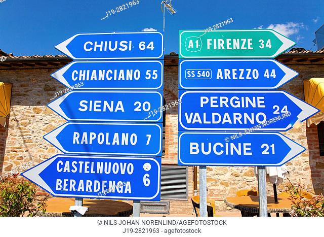 Road signs. Rimini province, Italy
