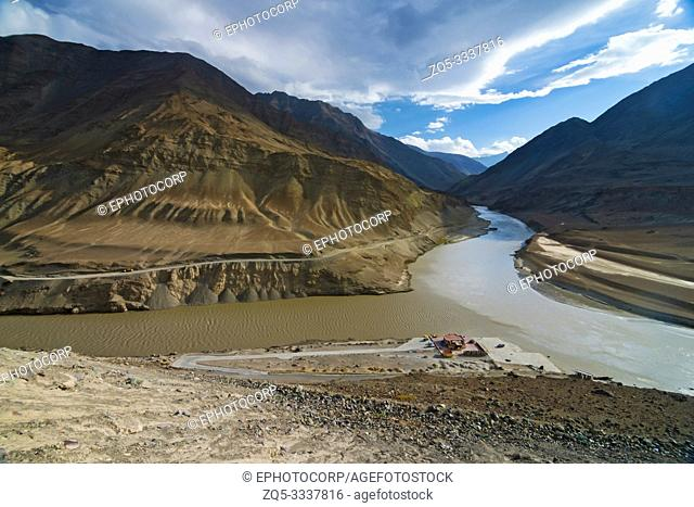 Sangam Indus and Zanskar river confluence, Ladakh, India