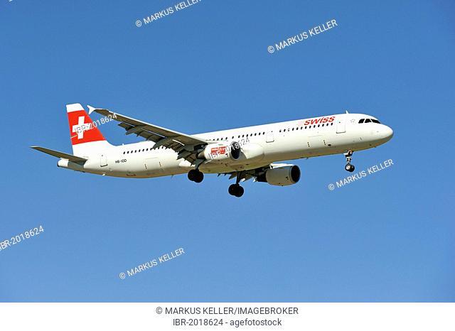Swiss Airbus A321 111 during the landing approach to Zurich Airport, Zurich, Switzerland, Europe