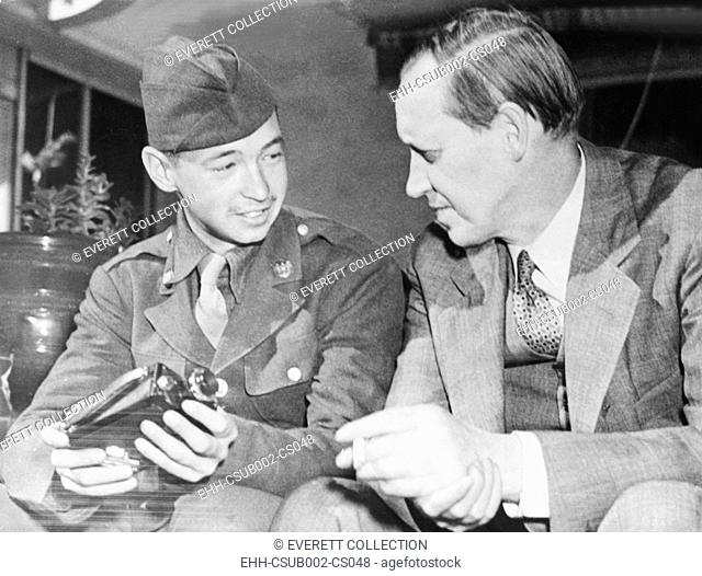Harry Hopkins and Cpl. Robert Hopkins at Casablanca, French Morocco, Jan. 30, 1943. Robert was a battle photographers with the Operation Torch
