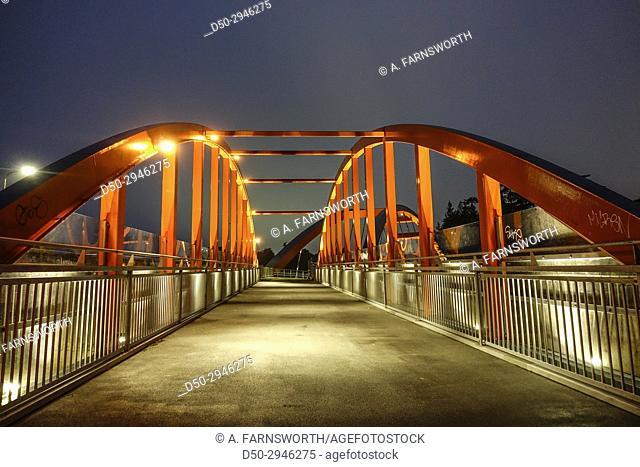 STOCKHOLM, SWEDEN New (Oct 2017) pedestrian bridge in Västberga