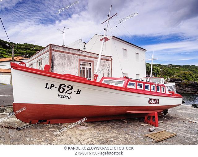 Traditional Whaling Motorboat, Port in Calheta de Nesquim, Pico Island, Azores, Portugal