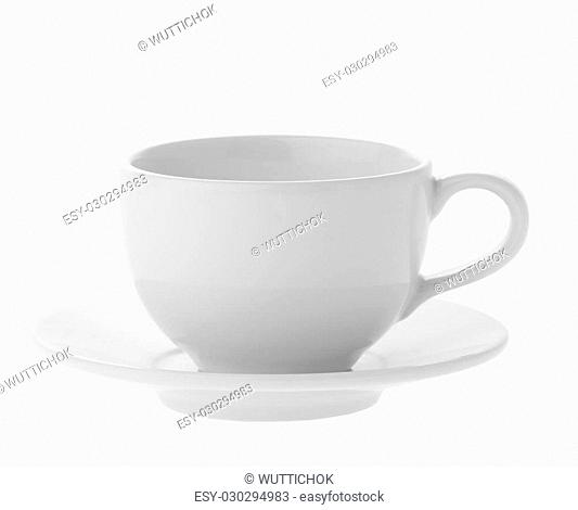 close up perfect white coffee cup on white background