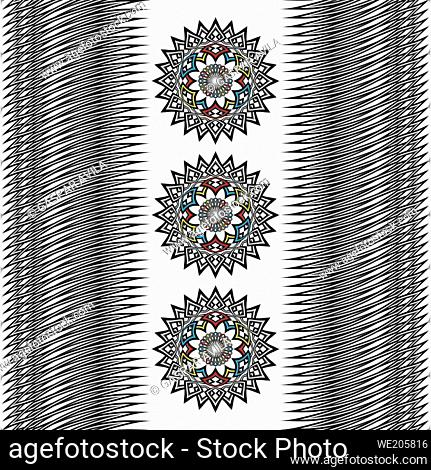 Graphic design with three mandalas and lines pattern on a white background
