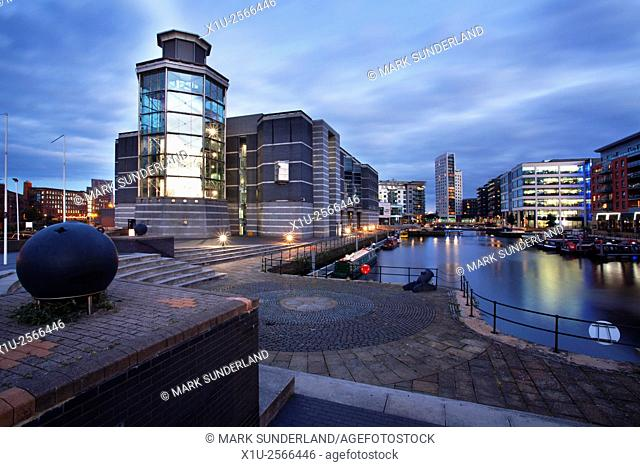 Royal Armouries Museum and Clarence Dock at Dusk Leeds West Yorkshire England