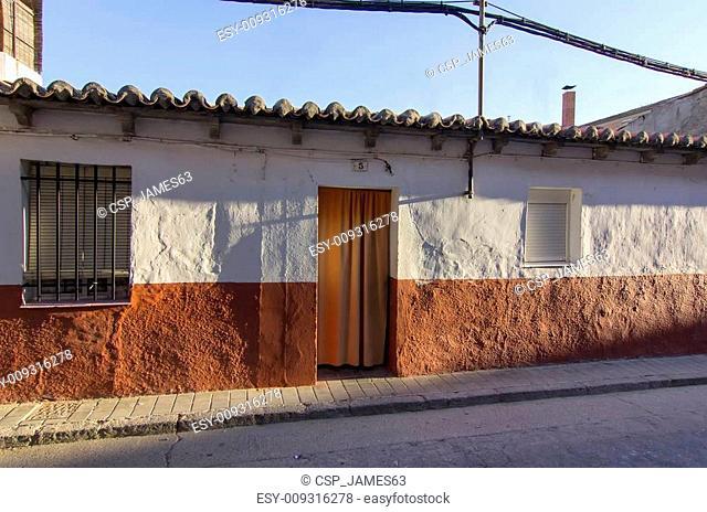 building facade with shadows at dawn