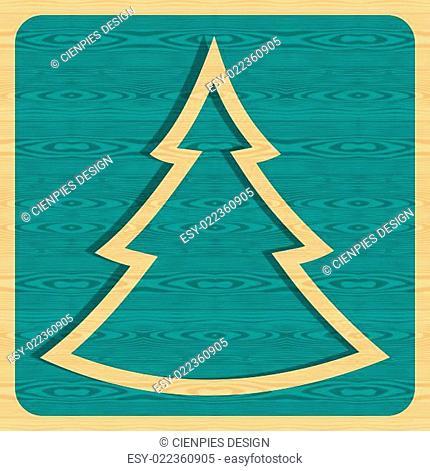 Retro wooden Christmas tree